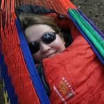 Kara all bundeled up in the hammock
