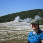 Yellowstone - Old Faithful - Kara, happy to have seen it.