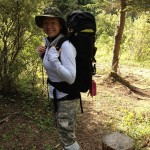 Kara, all packed up and ready for the hike back - garbage bag gaiters kept us dry.