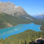 Emerald colored Peyto Lake at midday