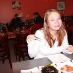 Kara getting ready to enjoy some Kimchi